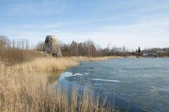 Vogelbeobachtungsplatz und alte Mühlen, Lettland 2018 Stockbilder