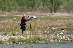 Vogelfotograaf, fotografo dell'uccello fotografia stock libera da diritti