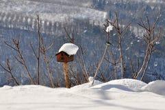 Vogelhuis in de wintersneeuw die wordt behandeld Stock Afbeelding