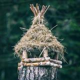 Vogelhuis het hangen op boomstomp, analoge filter stock fotografie