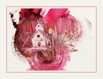 Vogelhuis in roze stock afbeelding