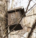 Vogelhuis, vogelvoeder, hulp van mensen tijdens stock foto