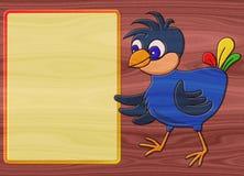 Vogelhulp het schilderen op geproduceerde houten textuurachtergrond Stock Afbeelding