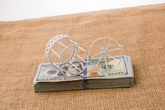 Vogelkäfig auf Bündel von US-Dollar Banknote Stockbild