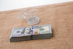 Vogelkäfig auf Bündel von US-Dollar Banknote Lizenzfreies Stockbild