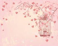 Vogelkooi onder harten, roze bloemen en boomtakken royalty-vrije illustratie