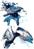 Vogelmeisje Stock Foto
