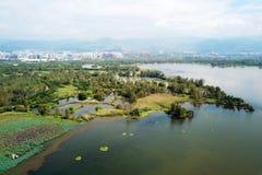 Vogelmening van Qionghai-Meer in Xichangï ¼ ŒChina Stock Foto