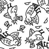 Vogelpatroon Inzameling van leuke hand getrokken vogels vector illustratie