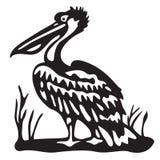 Vogelpelikaan - zwarte illustratie - vector Stock Afbeelding