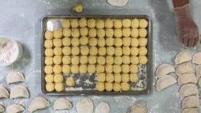 Vogelperspectief die van Aardappelballen voor Pierogies vullen stock video