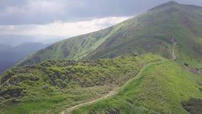 Vogelperspectief van de bergketen carpathians ukraine stock video