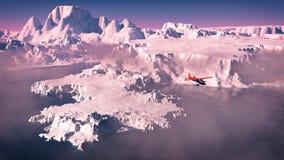 Vogelperspectief van rood vliegtuig die over ijsbergen met oceaan bij sunris vliegen Stock Foto