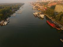 Vogelperspektive über dem Rostov-On-Donwerft Stockfoto