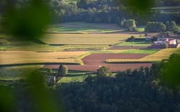 Vogelperspektive über den Feldern nahe Mailand-Bereich im brianza stockbild