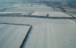 Vogelperspektive über der landwirtschaftlichen Anlage stockfotos