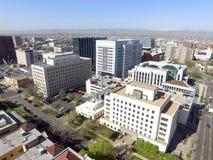 Vogelperspektive über im Stadtzentrum gelegenem Denver Colorado Stockfotos
