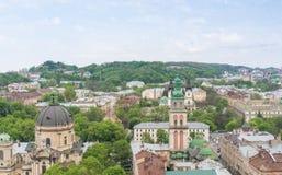 Vogelperspektive über Lemberg, Ukraine Stockbilder