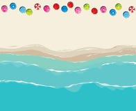Vogelperspektive über sonnigem Strand Stockfotos