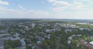 Vogelperspektive über Straßen von Pushkin-Stadt, Tsarskoye Selo am Sommertag Lizenzfreie Stockbilder