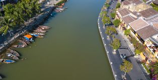 Vogelperspektive alter Stadt Hoi Ans oder der alten Stadt Hoian lizenzfreie stockbilder