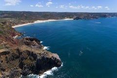 Vogelperspektive Amado Beachs u. des x28; Praia tun Amado und das Pontal in Algarve, Portugal Stockfotografie
