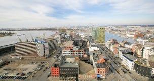 Vogelperspektive auf dem nördlichen Teil von Antwerpen, Belgien Lizenzfreies Stockfoto