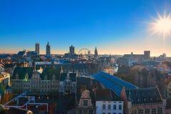 Vogelperspektive auf der Mitte der alten Stadt von Gent in Belgien stockfotos