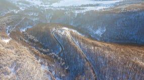 Vogelperspektive auf der Straße und dem Wald zur Winterzeit stockbild