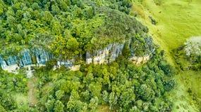 Vogelperspektive auf einer felsigen Klippe mit Wald und Ackerland auf dem Hintergrund Taranaki-Region, Neuseeland Stockfoto