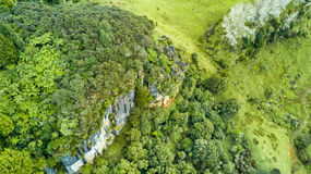 Vogelperspektive auf einer felsigen Klippe mit Wald und Ackerland auf dem Hintergrund Taranaki-Region, Neuseeland Stockbild