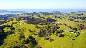 Vogelperspektive auf grünen Hügeln mit Wohnhäusern mit schönem Hafen auf dem Hintergrund Irgendwo in Neuseeland Lizenzfreie Stockfotografie
