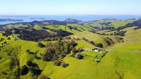 Vogelperspektive auf grünen Hügeln mit Wohnhäusern mit schönem Hafen auf dem Hintergrund Irgendwo in Neuseeland Stockfotografie