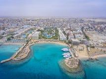 Vogelperspektive auf Hurghada-Stadt, Ägypten stockfoto