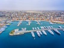 Vogelperspektive auf Hurghada-Stadt, Ägypten stockbild