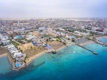 Vogelperspektive auf Hurghada-Stadt, Ägypten lizenzfreies stockbild