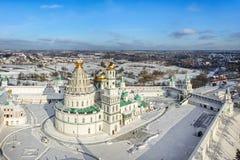 Vogelperspektive auf neuem Jerusalem-Kloster in Istra Stockfotografie