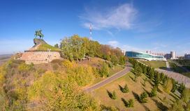 Vogelperspektive auf Ufa mit Monument Salavat Yulaev Lizenzfreies Stockbild