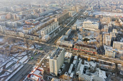 Vogelperspektive auf zentralem Wohnviertel Tyumen Stockfotografie