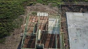 Vogelperspektive-australisches Baustellehaus und Betonplatte stock video