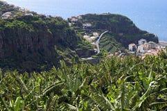 Vogelperspektive Badeortes und des Ozeans des von Madeira Stockbild