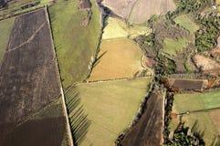 Vogelperspektive bebaute Felder Stockfotografie