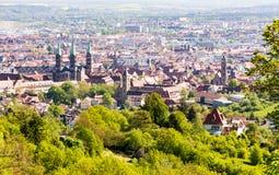 Vogelperspektive über der Stadt von Bamberg Stockfotos