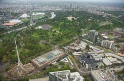 Vogelperspektive bewölkter Stadt Australien Melbournes CBD Stockbild