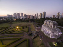 Vogelperspektive-botanischer Garten, Curitiba, Brasilien Juli 2017 lizenzfreie stockbilder