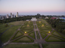 Vogelperspektive-botanischer Garten, Curitiba, Brasilien Juli 2017 stockfotos