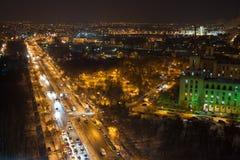 Vogelperspektive in Bukarest - bis zum Nacht Stockfoto
