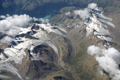 Vogelperspektive der Alpen Stockfoto
