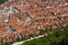 Vogelperspektive der alten europäischen Stadt von Brasov, Rumänien Stockfoto