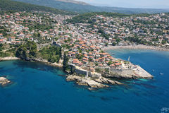 Vogelperspektive der alten Stadt Ulcinj, Montenegro Lizenzfreies Stockfoto